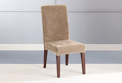 Stretch Plush Short Dining Chair Slipcover   Slipcovers ...