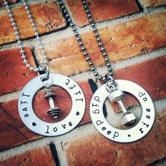 His And Hers Workout Necklaces Set Of 2 Weightlifting