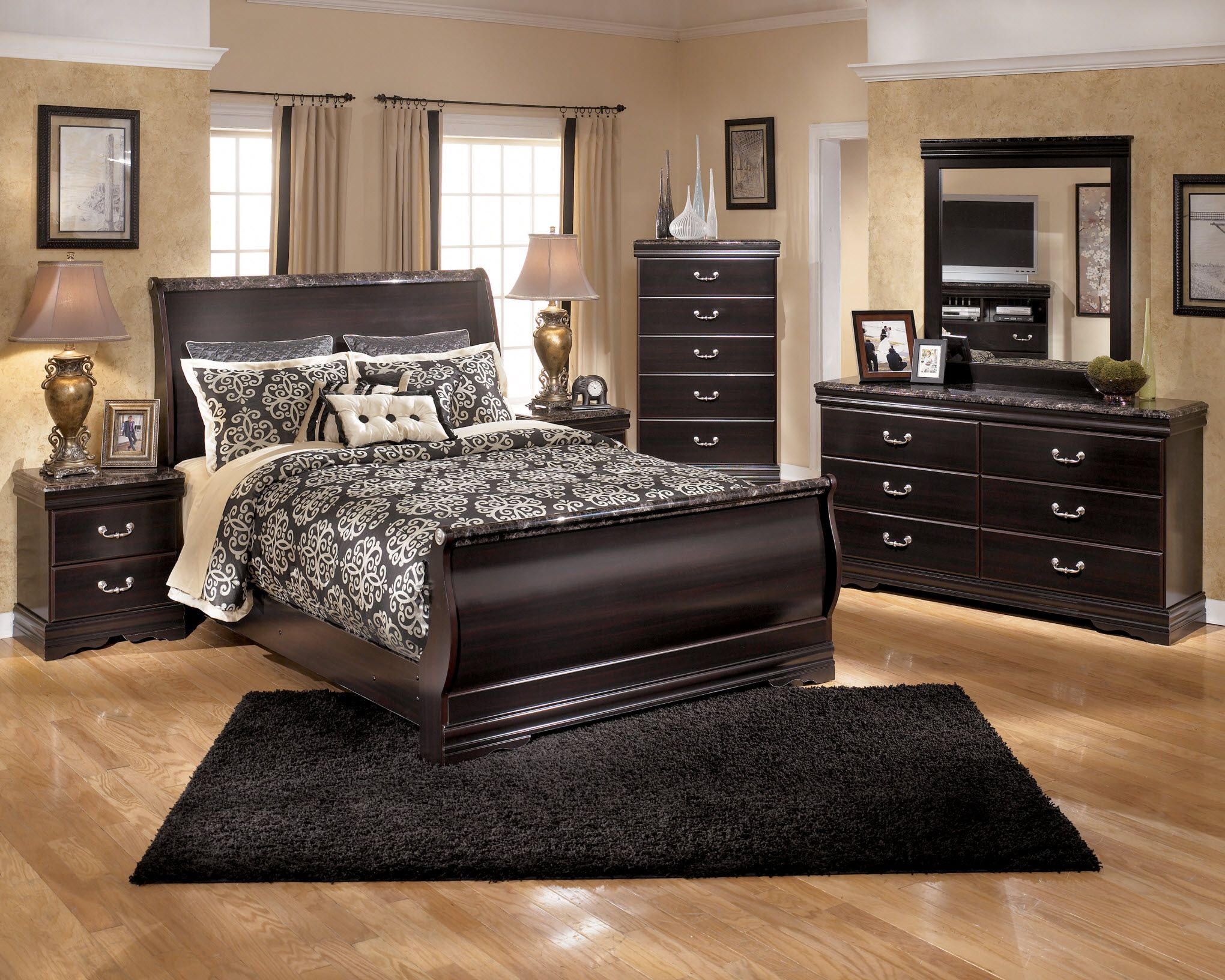 Elegant wood modern master bedroom set feat wood grain cincinnati ohio - Bedroom Sets Ashley Furniture Google Search