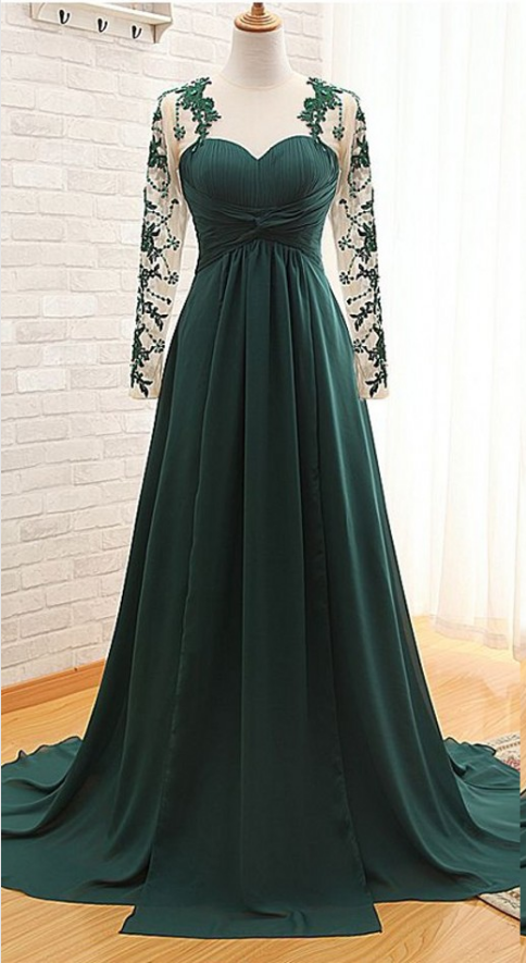 8233b1645bff02 Custom Made Dark Green Floor Length Lace Appliquéd Mesh Long Sleeved  Sweetheart Evening Dress Featuring Chapel Train and Keyhole Back