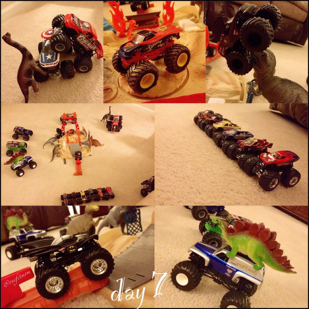 Day 7 ~ this is our version of #elfontheshelf. My son loved it! #christmas #onefitmom #holidays #dinosaurs #traditions #creative #toys
