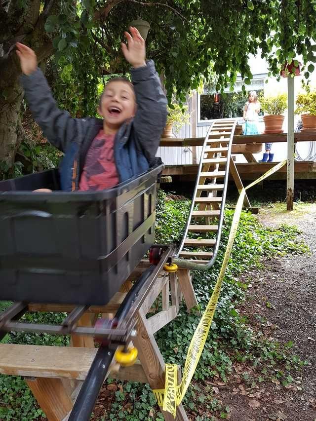 """r/DIY Out-n-Back """"Negative G"""" Backyard Roller Coaster ..."""