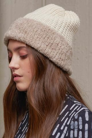 faaf241a5c4 Bouclé Beanie by Osei-Duro in super soft alpaca featuring bouclé yarn on  the bottom half. The lightweight feel and cozy alpaca wool makes it perfect  for ...