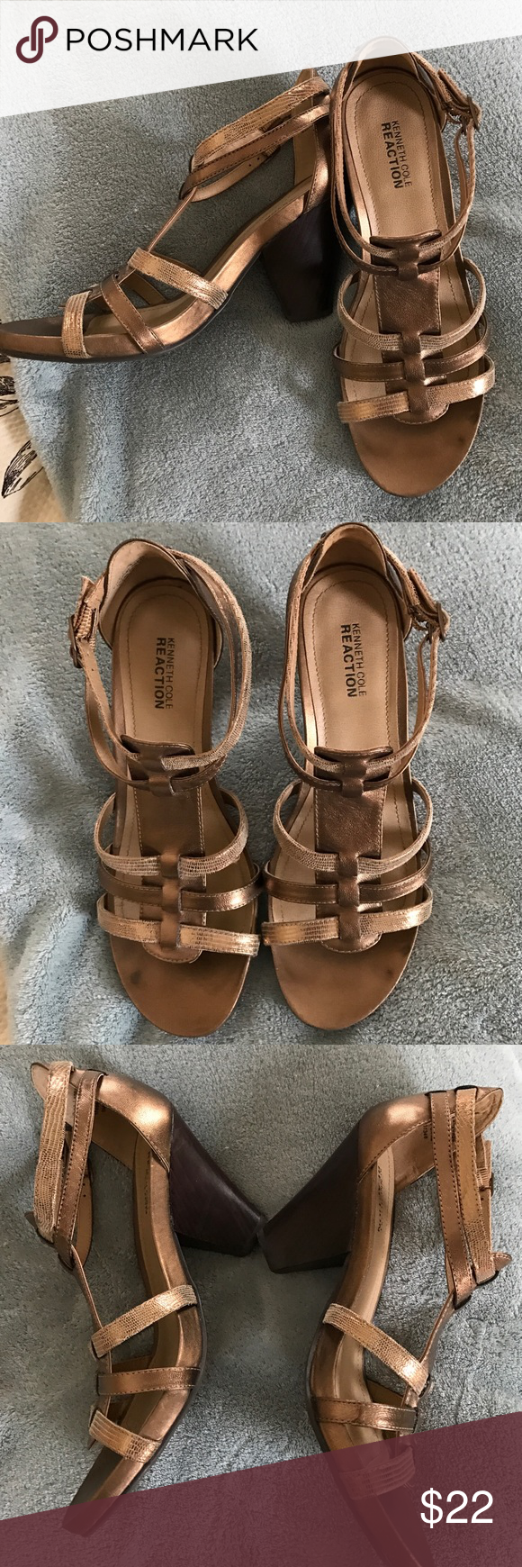 """KENNETH COLE REACTION BRONZE BLOCK HEEL SANDAL Multiple strap sandal by Kenneth Cole only worn about 3 times these have a 3"""" bock heel and leather upper 9medium. Gorgeous bronze tones you can wear with anything Kenneth Cole Reaction Shoes Sandals"""