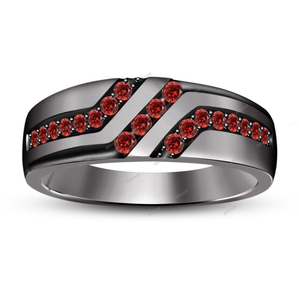 1 00 Carat Red Garnet 10k Black Gold Plated Men S Wedding Ring Rings Men S Wedding Ring Red Garnet