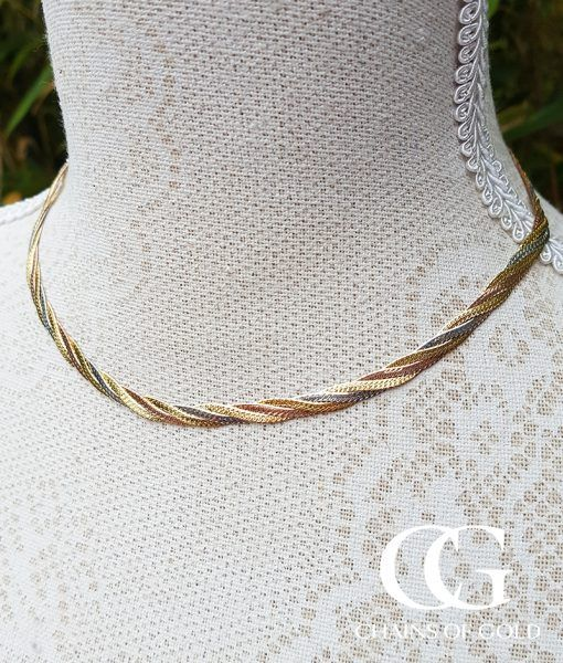 2bc181d908b42 9ct Three Colour Gold Herringbone Necklace 16