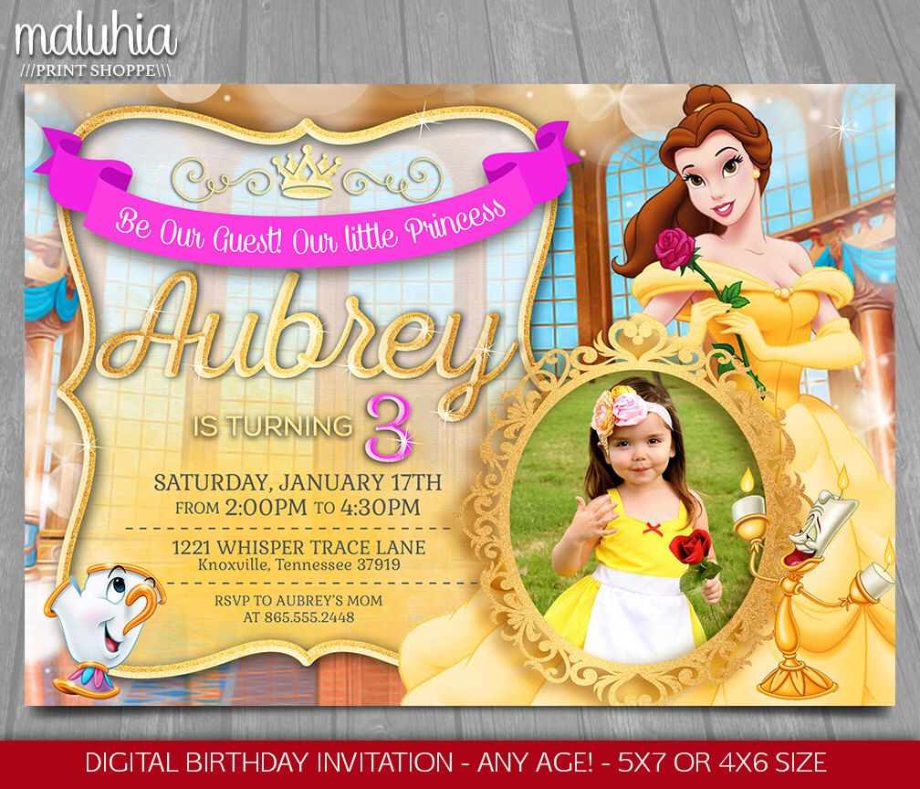 Princess belle invitation disney beauty and the beast invite princess belle invitation disney beauty and the beast invite princess belle birthday invitation belle birthday party with photo filmwisefo Images