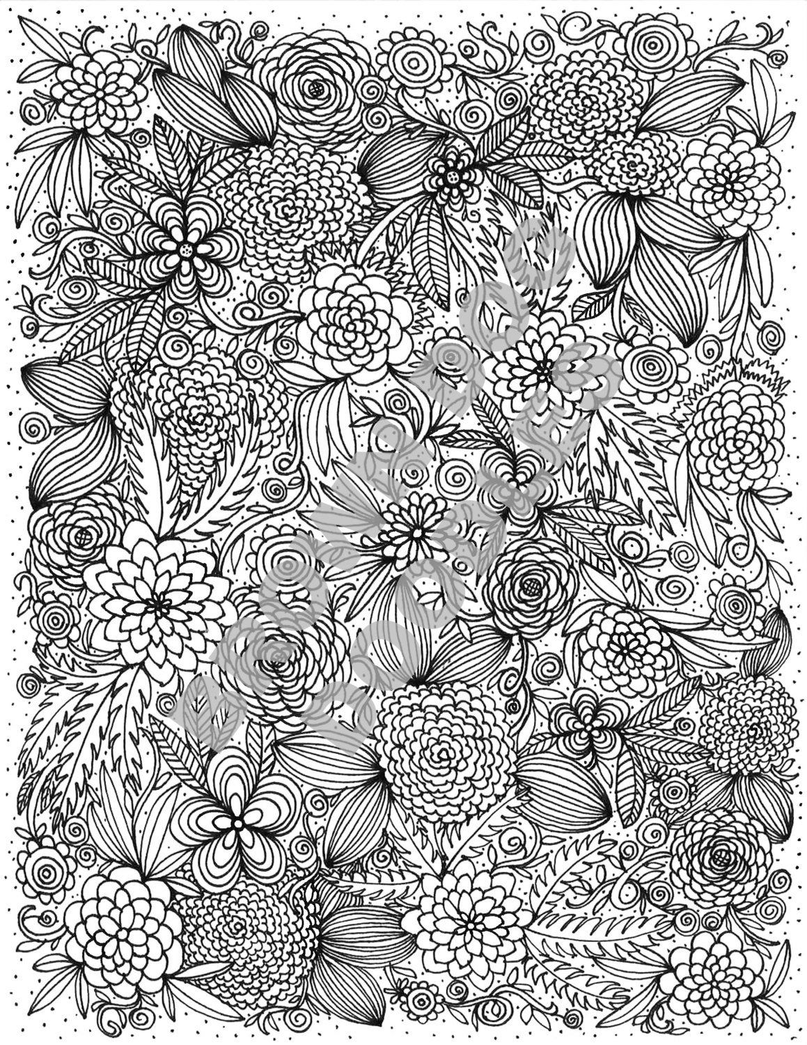 Botanical Coloring Page Etsy Coloring Pages Color Cool Coloring Pages