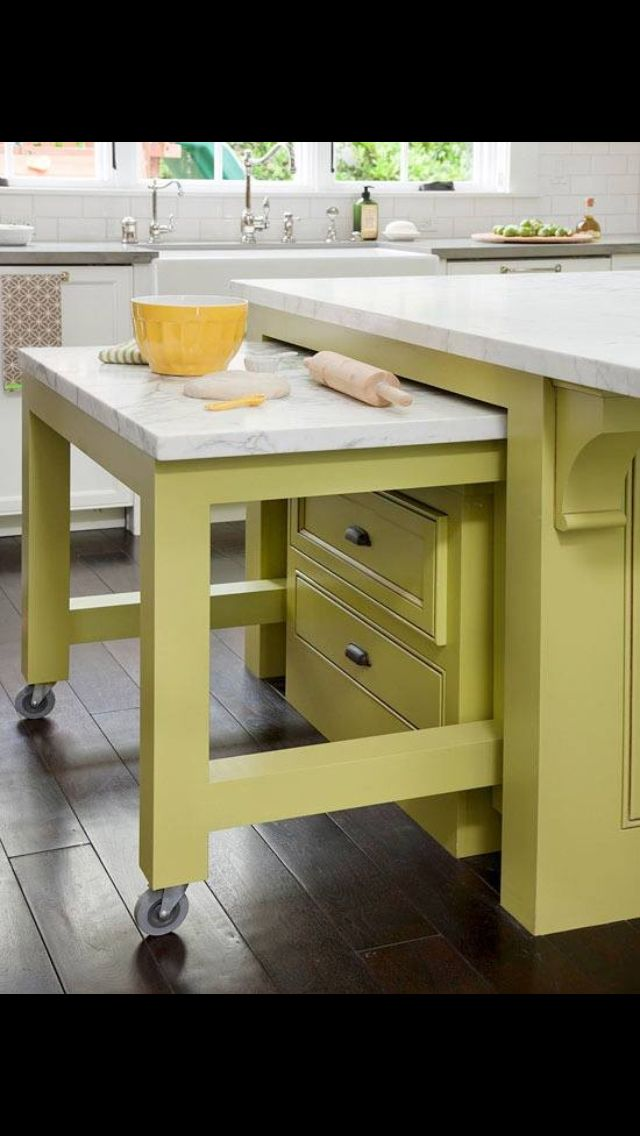 Great Extra Counter Space Tucked Away In The Kitchen Island