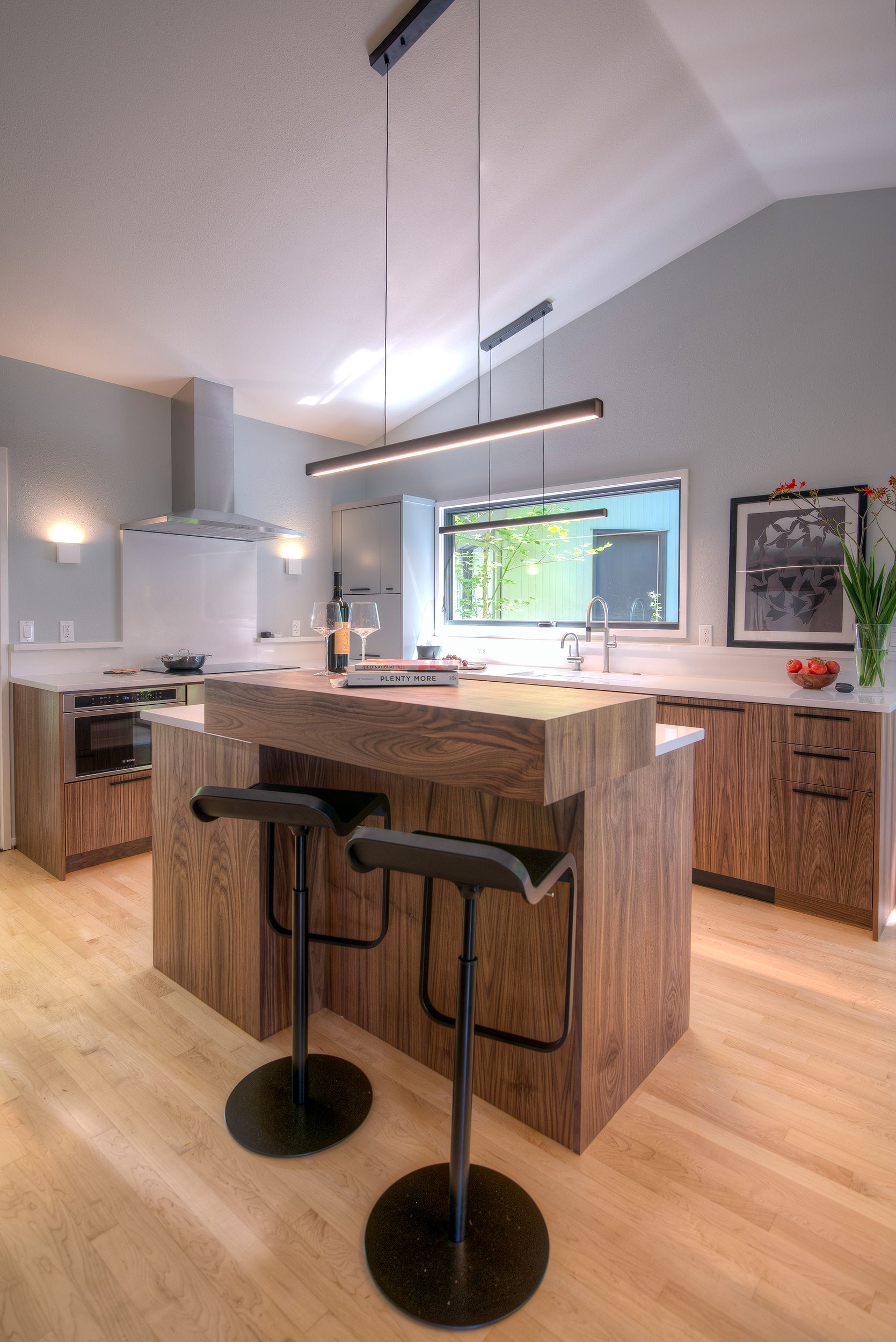 The Updated Kitchen Designed And Built In Collaboration With Dyer Studio In This Modern Portland Home Fsc Certified Walnut Updated Kitchen Maple Floors Home