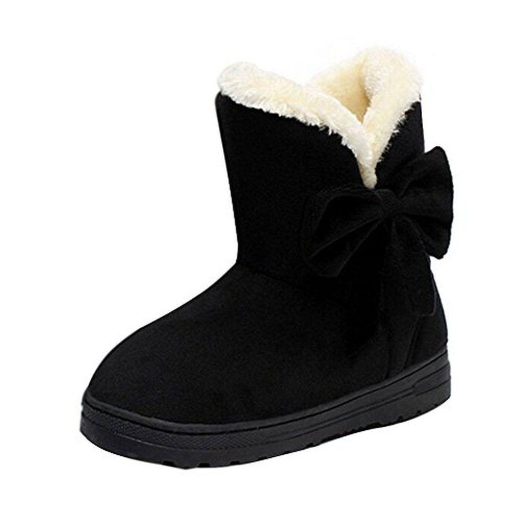 minetom bottes de neige femme bowtie boots avec epais fourrure