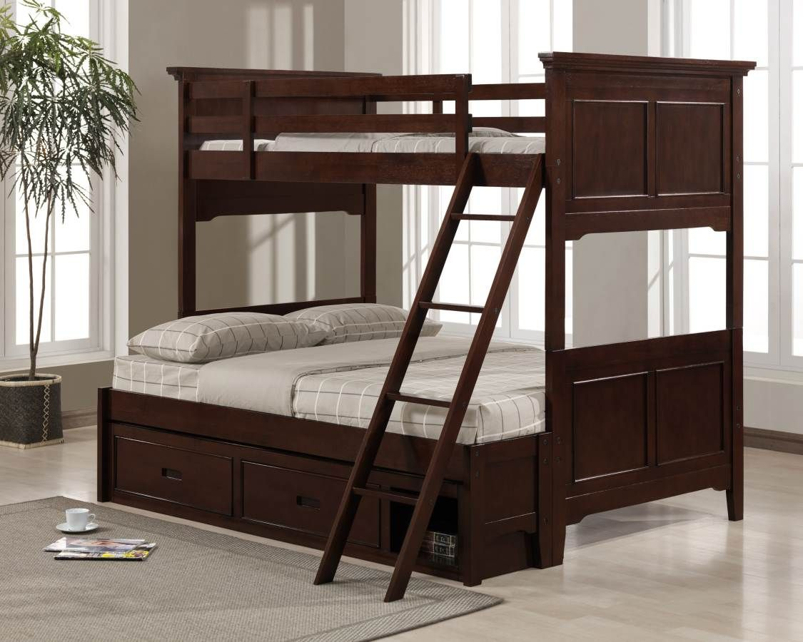 Jordan Warm Cherry Twin Full Bunk Bed Bunk Beds Twin