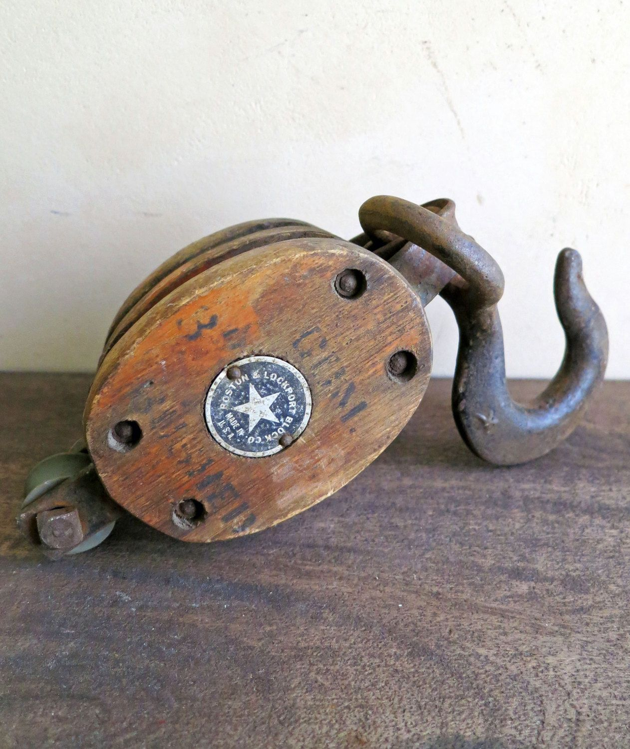 15 Off Sale Antique Pulley 1800s Barn Pulley Wood And Iron Block Tackle Antiques Pulley