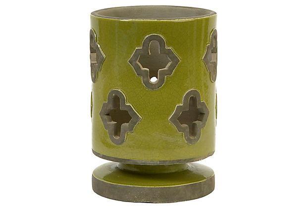 "9"" Chapala Cutwork Lantern, Green on OneKingsLane.com"