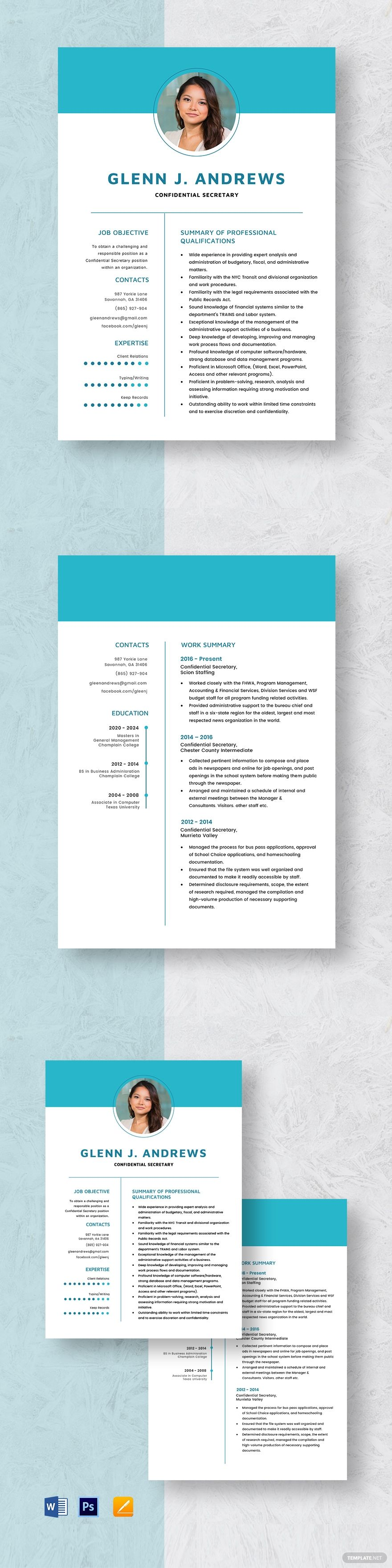 Confidential secretary resume template in 2020 resume