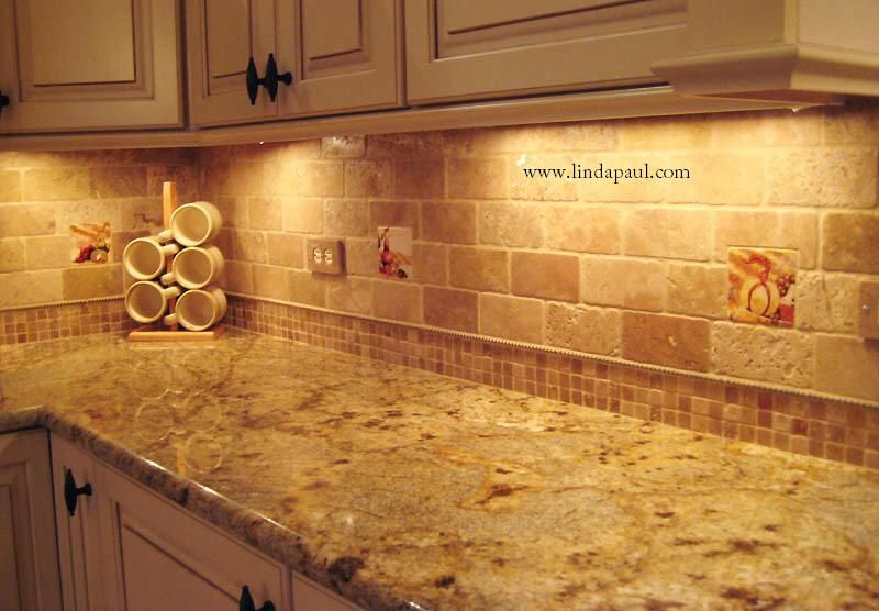 Travertine tile backsplash tuscan vineyard tile murals wine tiles for kitchen backsplashes - Backsplash designs travertine ...