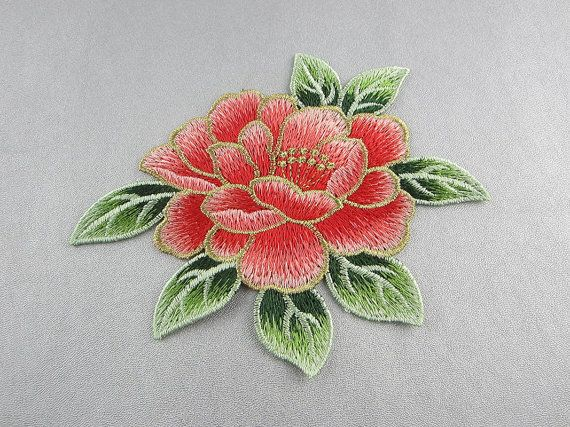 Embroidery peony flower appliques only sew on peony flower