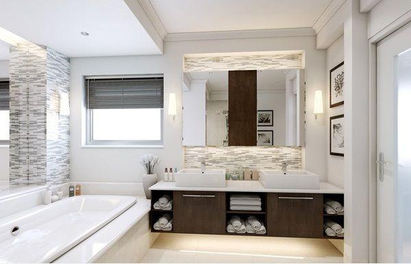 Steinfliesen zwei Waschbecken Unterschrank Badewanne ...