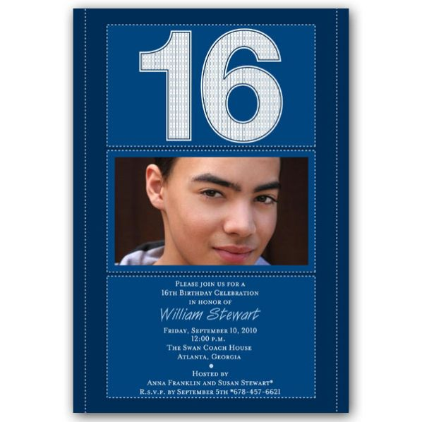 Cool 16th Birthday Invitations For Boys