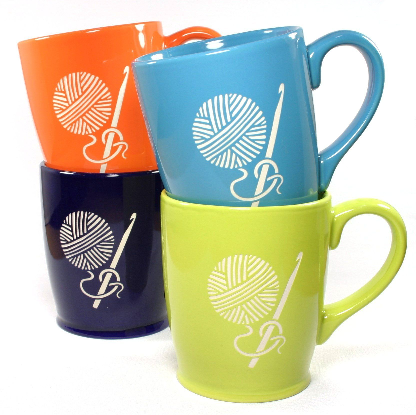 CROCHET HOOK Mugs - Set of 4 Colors - 16oz Dishwasher-Safe Sandblasted Ceramic. Crocheting and drinking coffee or tea is the perfect afternoon. Microwave-safe and dishwasher-safe. We carved all the way through the bright, colorful glazes of these extra large DESIGN mugs so that the bold natural stoneware ceramic can be seen. You'll get one each of the 4 colors shown (sky blue, navy blue, tangerine orange, chartreuse green). Engraving will never wear or stain.