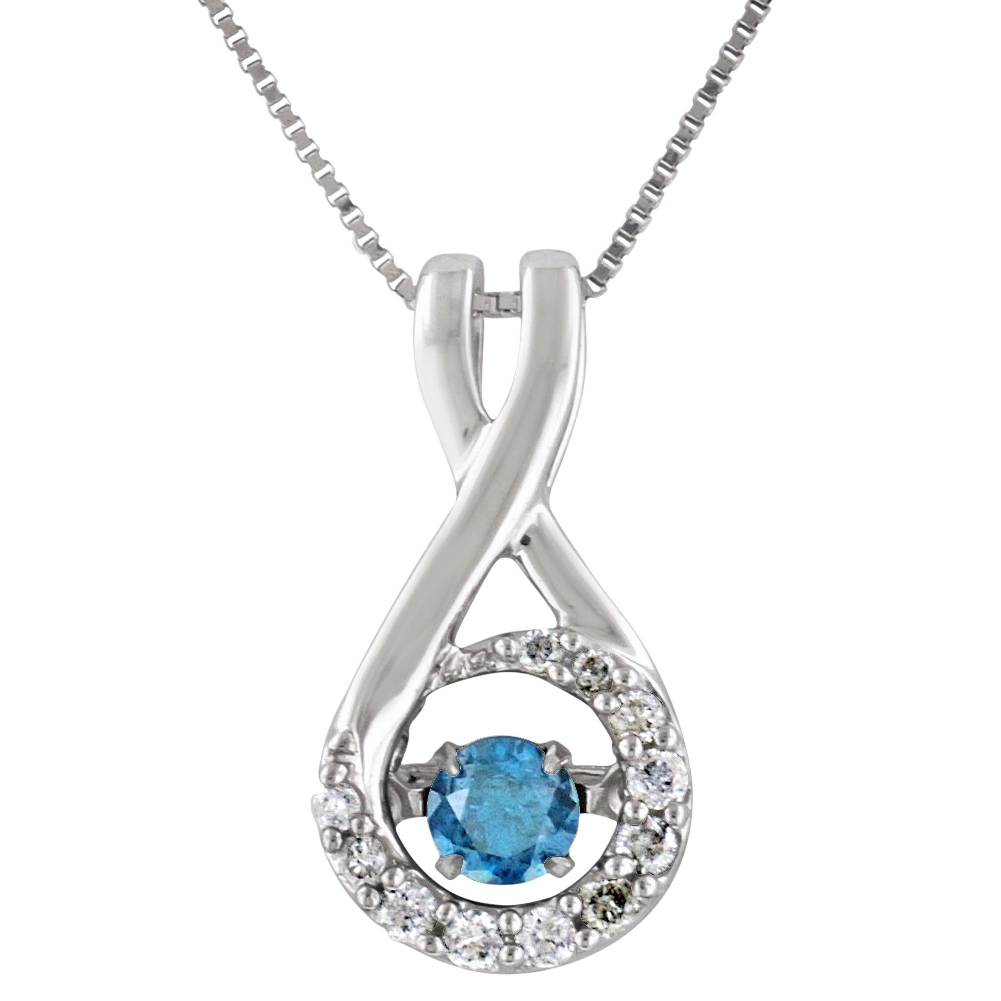 Heart beat blue diamond necklace in 10kt white gold 15ct