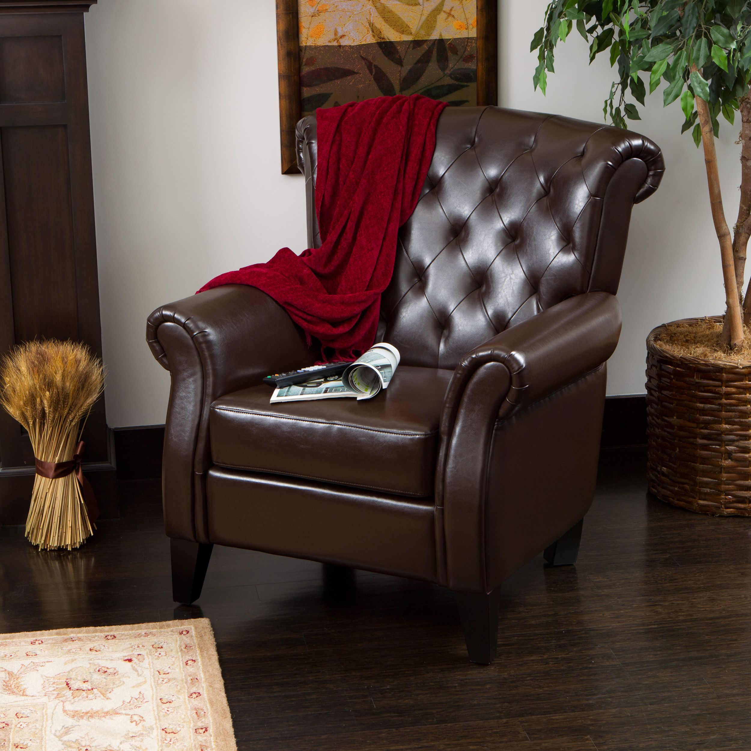 Greggory Bonded Leather Club Chair By Christopher Knight Home (Franklin  Brown Leather Club Chair)