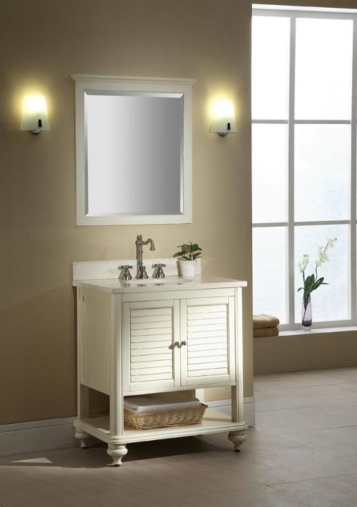 """ISLANDER Bathroom Vanity    • Appealing design can be used in any setting  • Create various """"looks"""" with matching hutch and mirror  • """"Adjust-a-leg"""" allows for use with vessels or undermount bowls  • Distressed Maple finish in two colors  • Solid Birch construction with Cherry veneer  • Can be used with vessels or undermount bowls"""