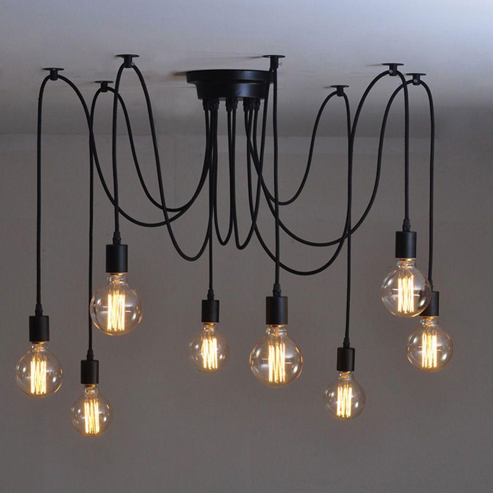Mordern Nordic Retro Edison Bulb Light Chandelier Vintage Loft Antique Adjustable Diy E27 Art Spider Ceilin Retro Deckenleuchten Edison Lampe Lampen Wohnzimmer