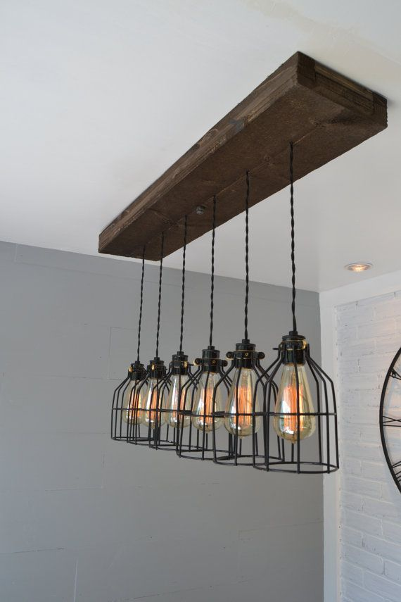 Farm House Light Pendant Lighting Wood Kitchen Chic Chandelier Reclaimed Fixture