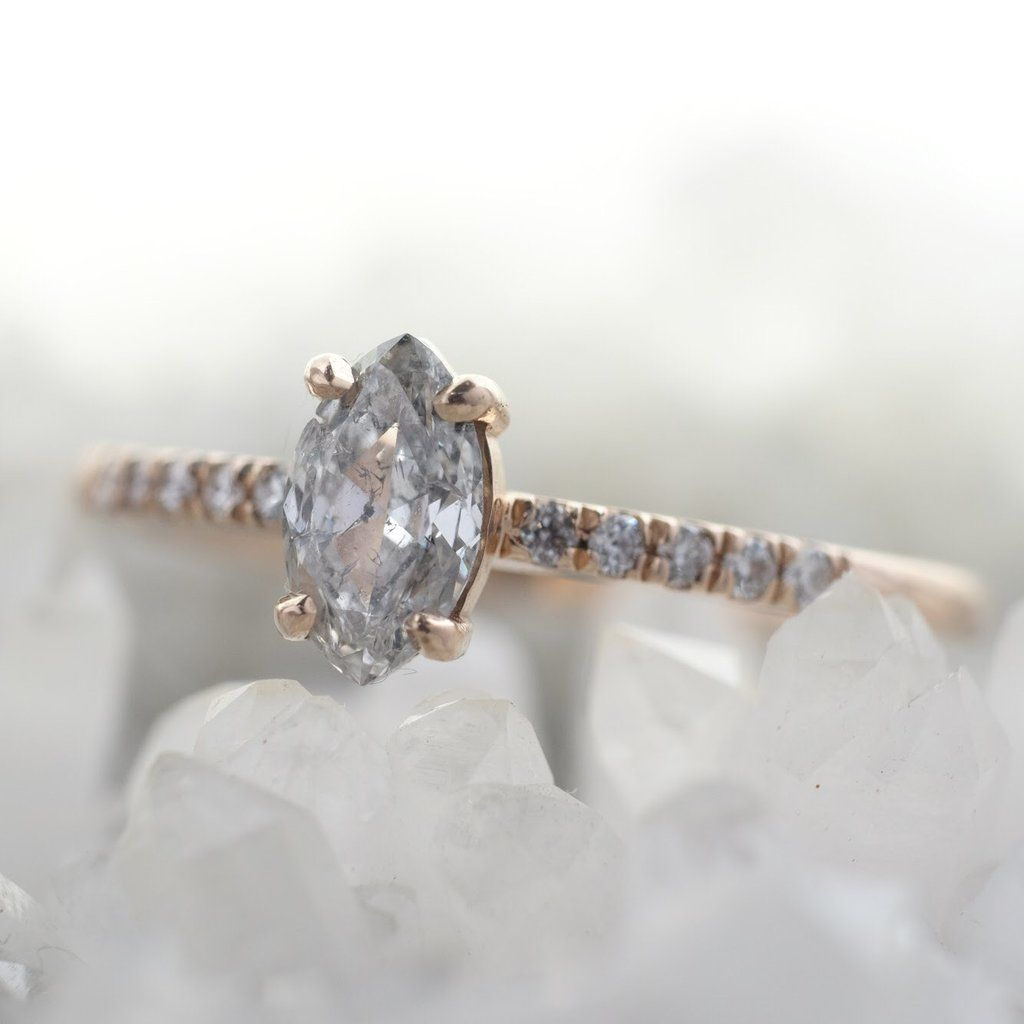 Marquise diamond setting ideas - Salt Pepper Marquise Diamond Jules Setting Recycled 14k Peach Gold