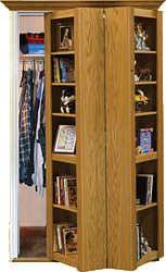 Invisidoor 60 Bifold Bookcase Assembled Unfinished Red Oak Bi