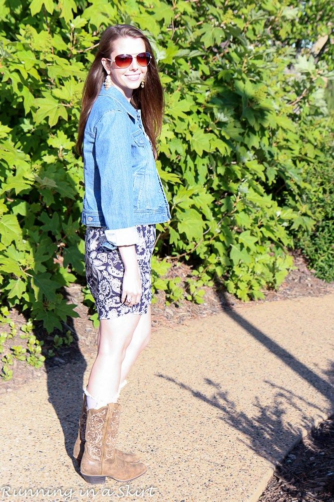 The perfect outfit for cool spring or fall evenings.  Cowboy boots and navy paisley dress.  Styled with boot socks and denim jacket.  Casual outfit ideas for women 30 plus.  Everyday fashion ideas here! | Running in a Skirt