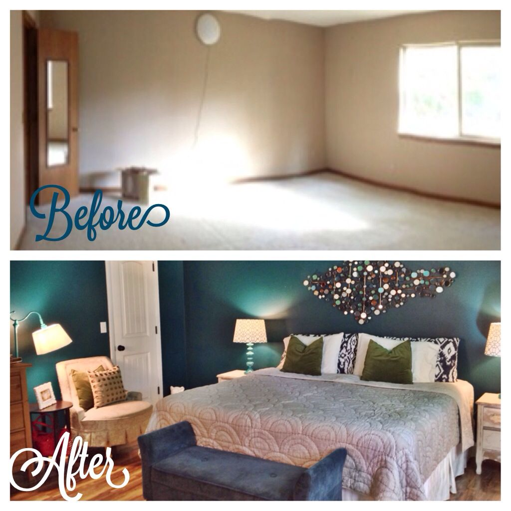 Before and after of my master bedroom. Wall paint color is ...