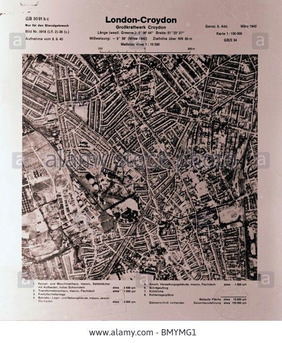 London - Croydon 8th September 1940 Industrial Estate & Beddington Power Station Luftwaffe Aerial Image