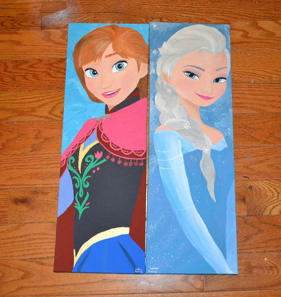Disney Frozen Inspired 2 Canvas Painting Set Princess By 21cannonsalute 90 00 Frozen Canvas Disney Canvas Paintings Simple Canvas Paintings