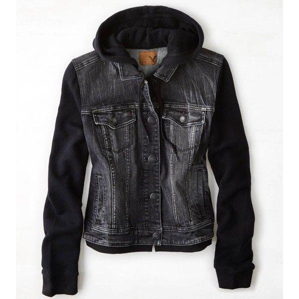 American Eagle Denim Vested Hoodie Black Denim Vest Hoodie Vest Hooded Denim Jacket