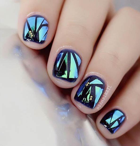 31 Jaw-Dropping Broken-Glass Nail Designs Nail Designs Pinterest - uas efecto espejo