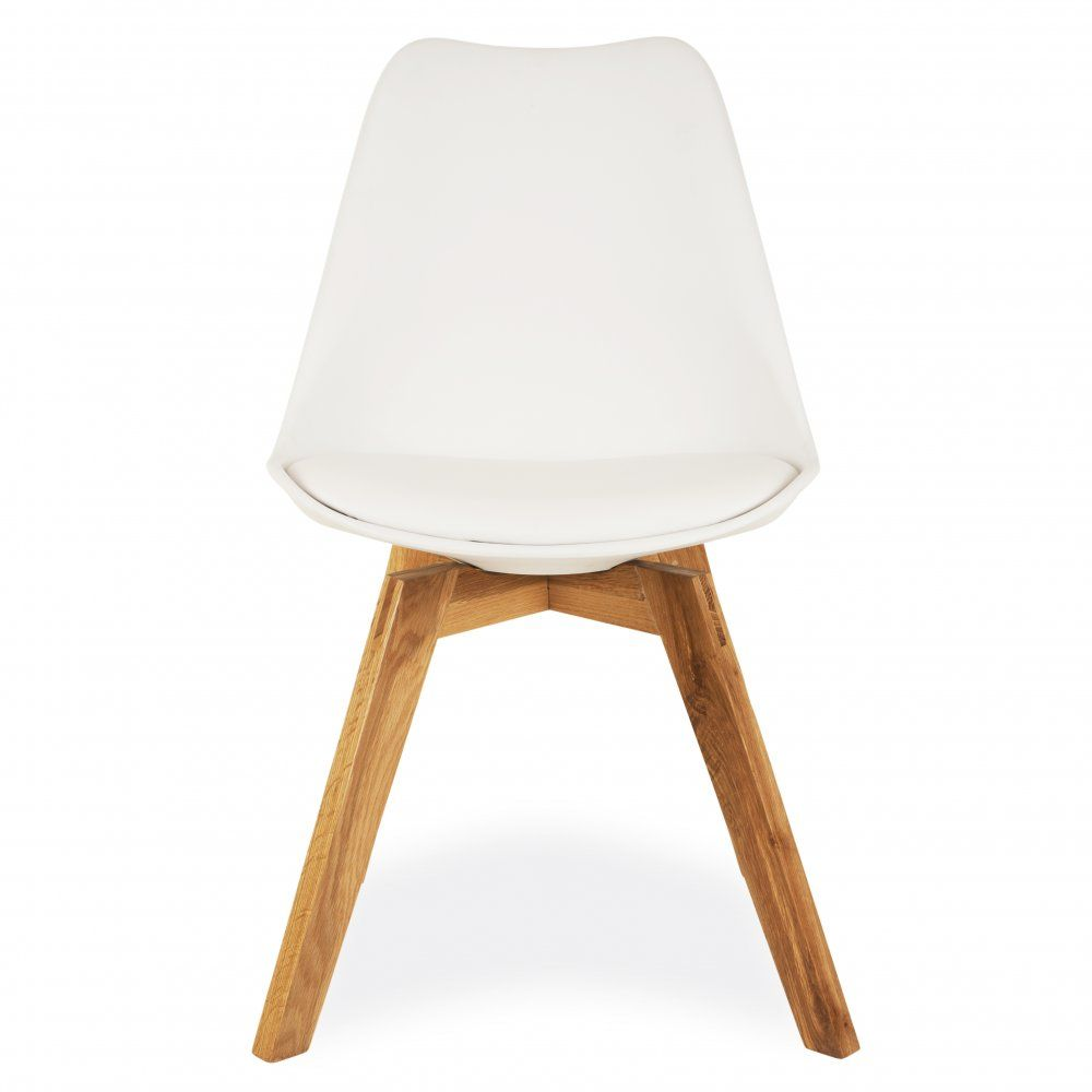 Eames Style White Dining Chairs With Solid Crossed Oak Wood Leg Base