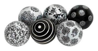 Black And White Decorative Ceramic Balls Set Of 6 Black And White Balls  Prom Decoration Ideas  Pinterest