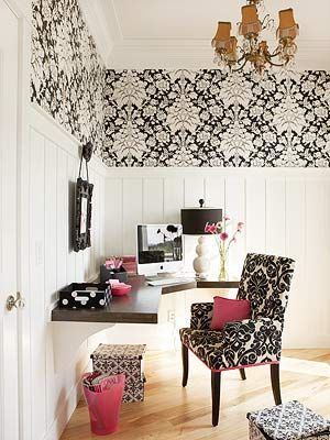 Love the look of wallpaper & paneling