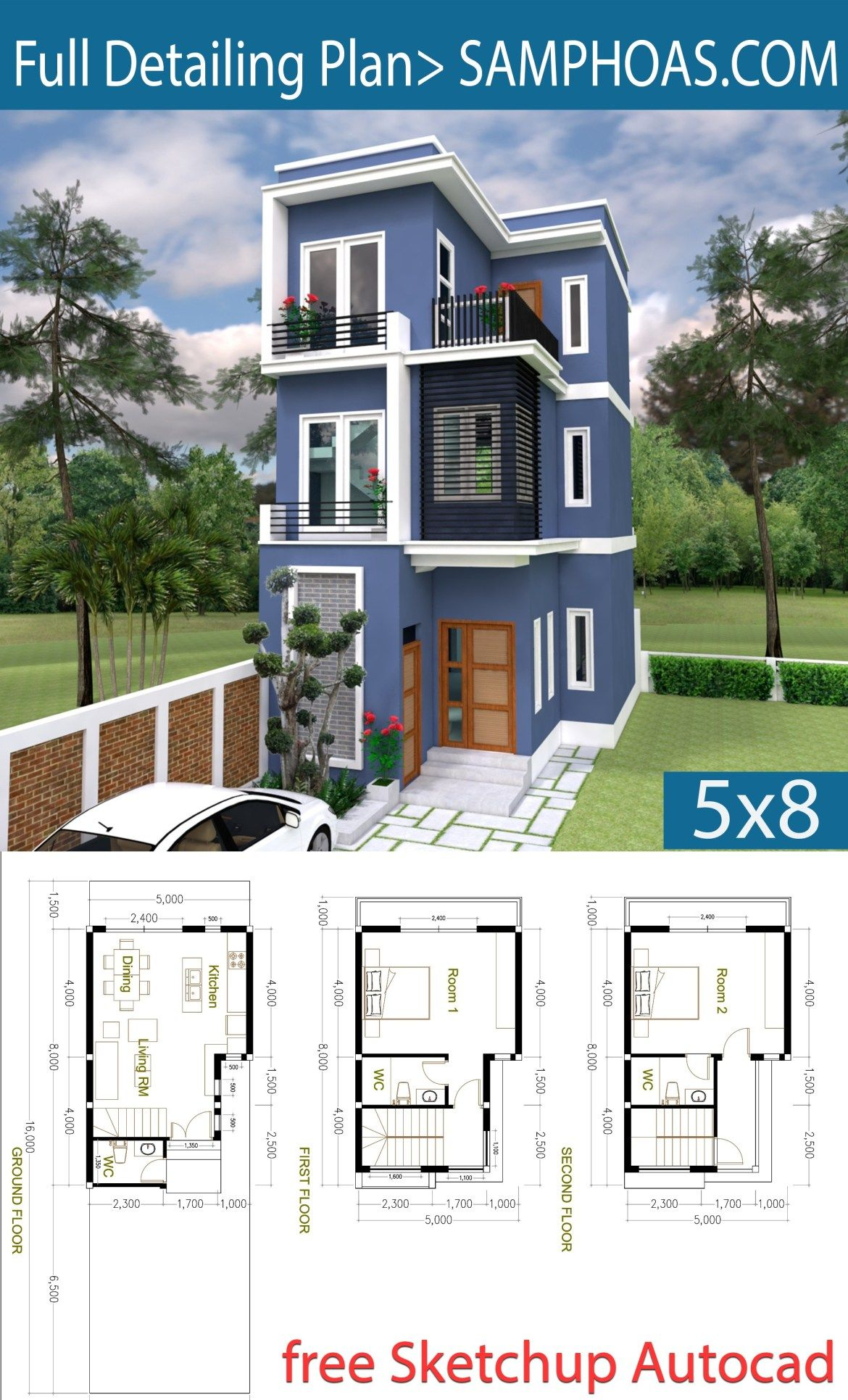 2 Bedroom Tiny Home Plan 5x8m Samphoas Plansearch Model House Plan House Front Design Sims House Plans