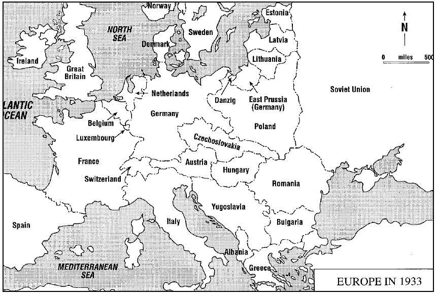 Europe 1933jpg (861×584) World War II Pinterest - best of world war 1 map black and white