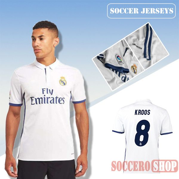 54081f17110 Latest Real Madrid White 2016 2017 Home Soccer Jersey With Kroos 8 Printing  Replica Bargain From ...