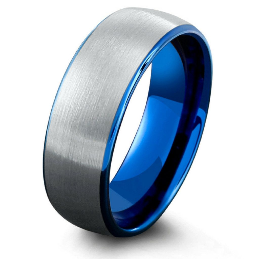 Mens Ocean Blue Brushed Tungsten Wedding Band Tungsten wedding