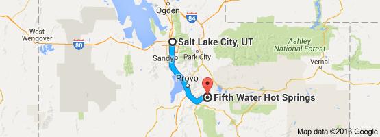 Map from Salt Lake City, UT to Fifth Water Hot Springs, Utah ...