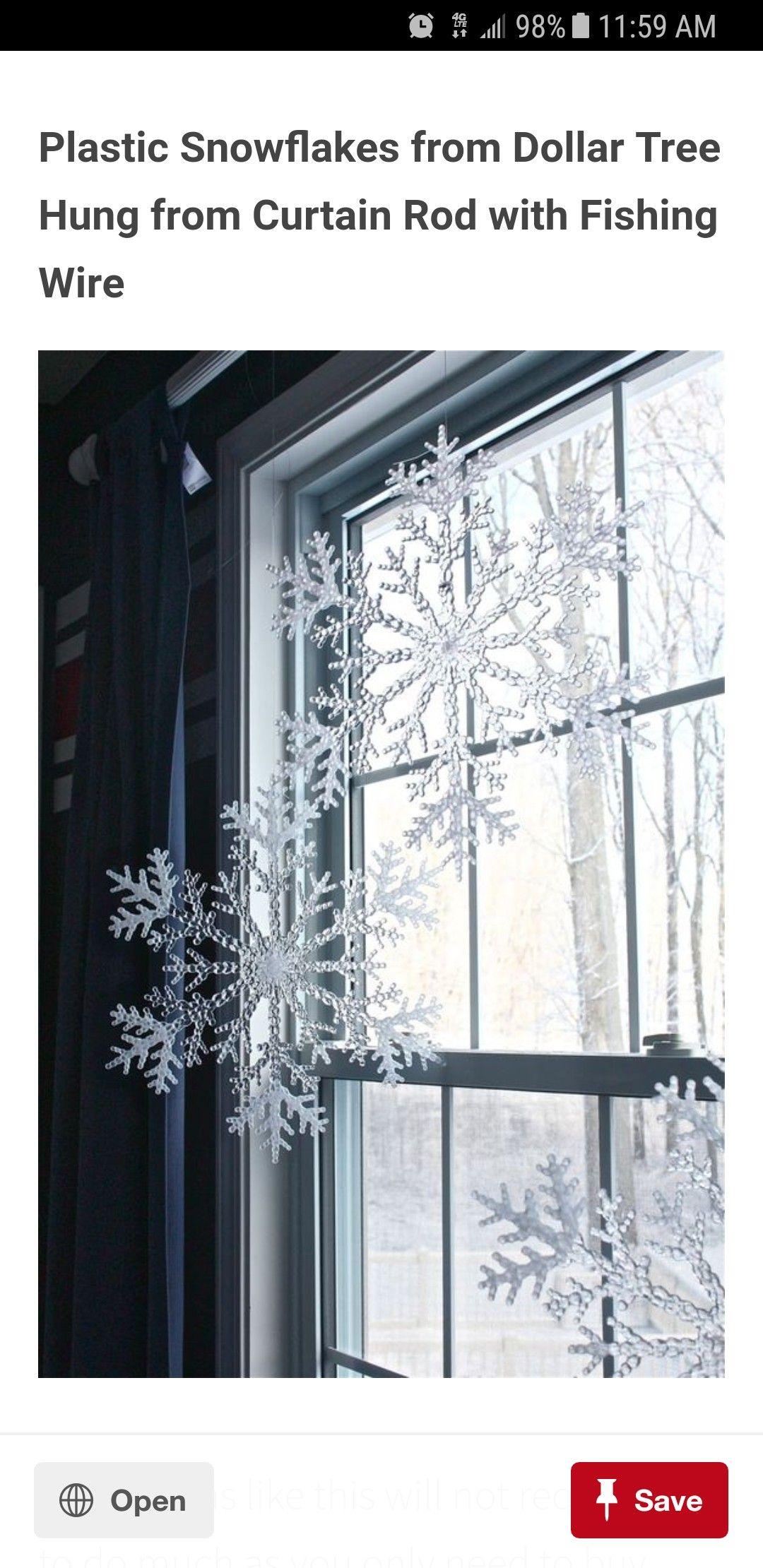 Dollar Tree Plastic Snowflakes As Window Winter Decor Christmas