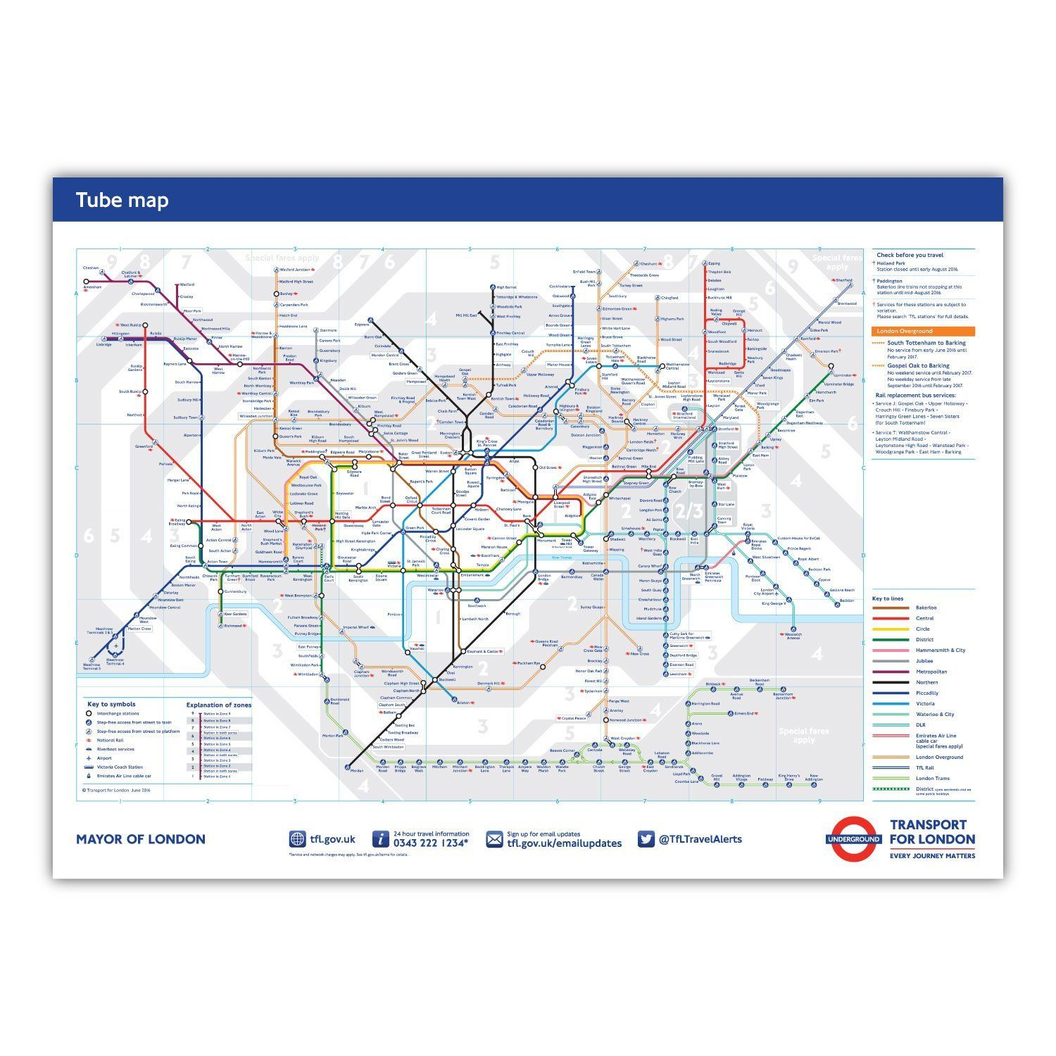 standard london underground tube station map poster june 2016 a2 594x420mm