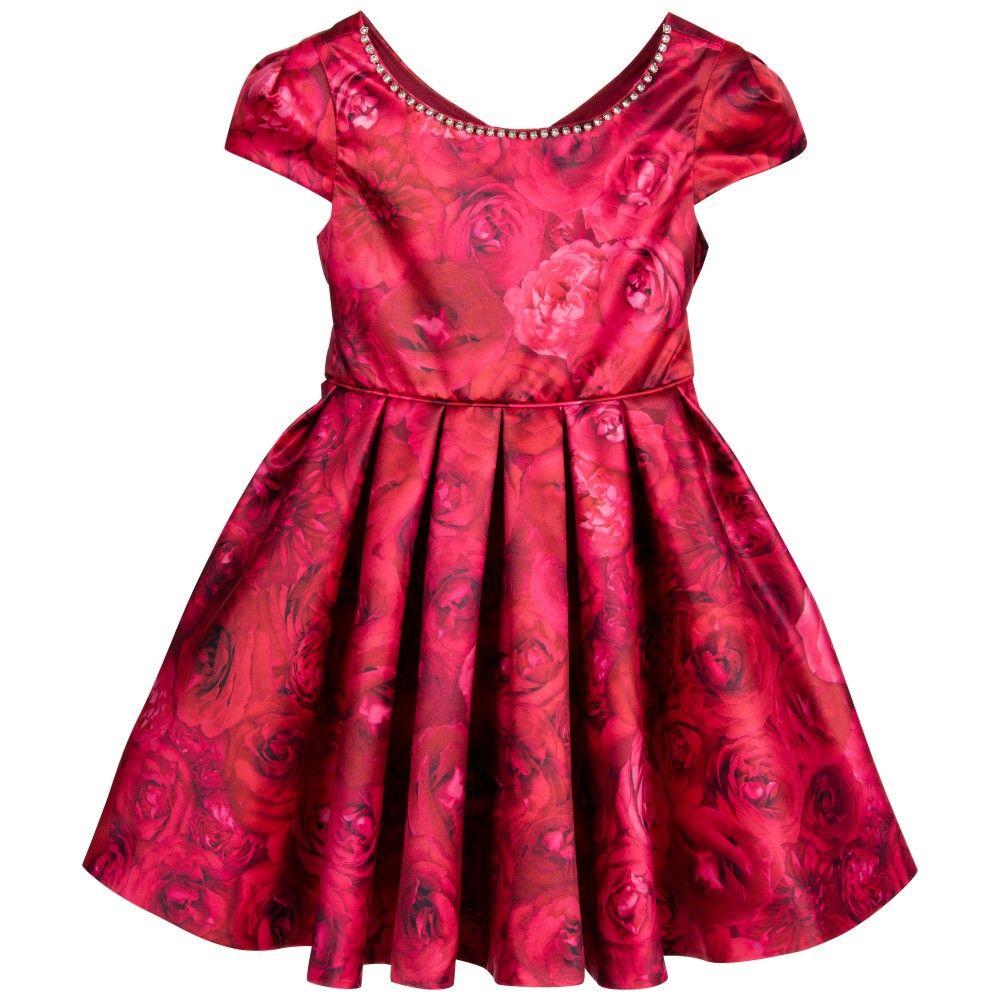 Red rose print satin dress biscotti