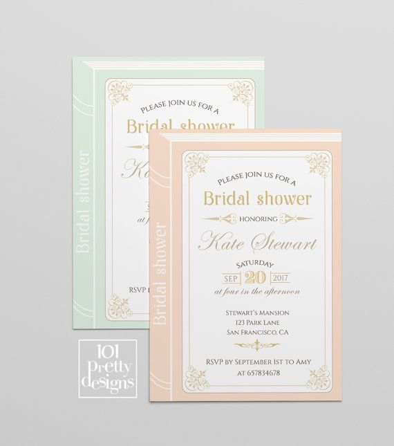 Book bridal shower invitation template printable bridal shower