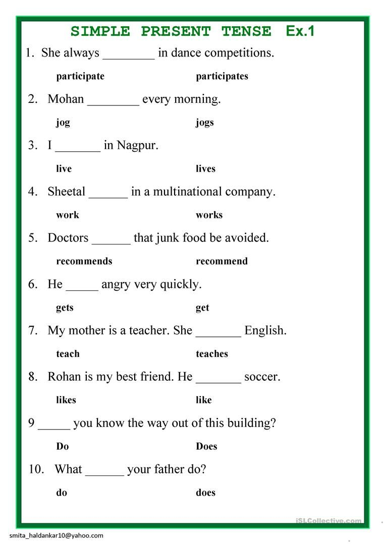 small resolution of 16+ Simple Present Tense Worksheet Grade 5 Pdf